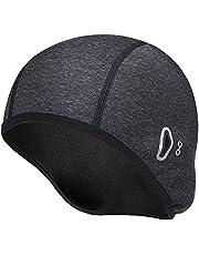 Lveal Thermal Skull Cap Helmet Liner Fits Glasses, Cycling Helmet Cap Winter Sports Beanie Hat Windproof Running Hat