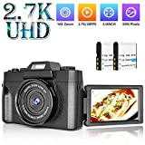 Digital Camera Vlogging Camera with 3.0inch Flip Screen, 30MP Ultra 2.7K HD Video Camera with Flashlight, 16X Powerful Zoom, Suitable for Wedding, Trip, Vlogging, Recording Life