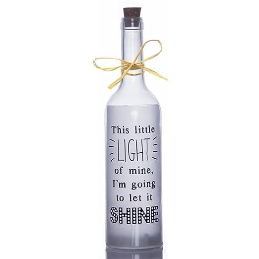Boxer SB1106 - Botella de cristal con luces LED, con texto en inglés, color
