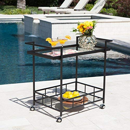 Christopher Knight Home Selma Outdoor Industrial Black Powder Coated Iron Bar Cart with Tempered Glass Shelves