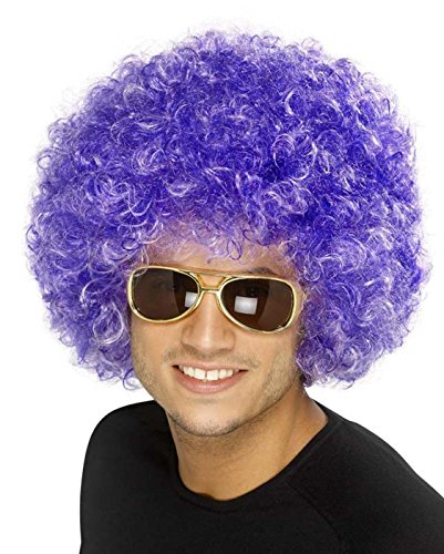 [Bliss Pro's Purple Afro Wig Halloween Party Wig 70 80 Disco Clown] (Purple Wig Costumes)