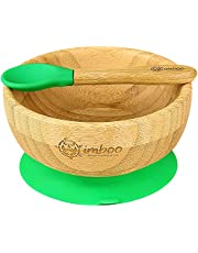 Imboo – Baby Feeding Bowl and Baby Spoon - Natural Bamboo Spoon Bowl Set – Silicon Suction Plates for Babies, Baby Accessories, Baby Feeding Set, Baby Led Weaning Supplies