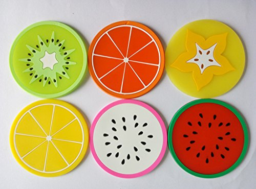 Helen Ou @ 6-piece Heat Resistant Silicone Fruit Pattern Cup Mat Coaster Drink Placemat 9cm/3.5in