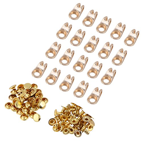 Replacement Boot Buckles - 20 Pcs Boot Lace Hooks Lace Fittings Buckles With Rivets for Repair/Camp/Hike/Climb Accessories(Gold)