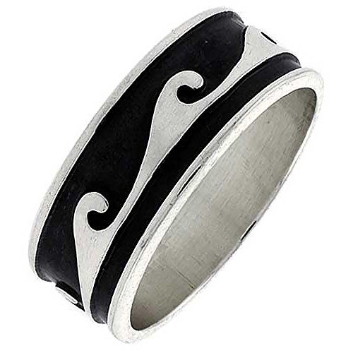 Sterling Silver Wave Ring Southwestern Design Handmade 5/16 inch wide, size 12