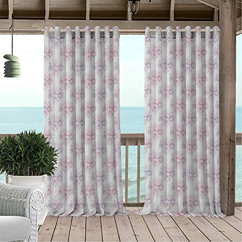 Linhomedecor Patio Waterproof Curtain Geranium Shab Corsage Style Romantic Planting Bouquets Wedding Bridal Blossom Lavender White Magenta Porch Grommet Patterned Curtains 72 by 84 ()