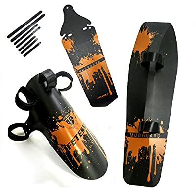 FETESNICE Bike Mudguard Rain Road Rear Saddle Bicycle Fender,Front Fork Mudguard,Front Clip-on Bicycle Downtube Fender