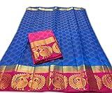 Nirja Creation Cotton Silk Saree (NC-OD-MOR-04_Blue_Free Size)
