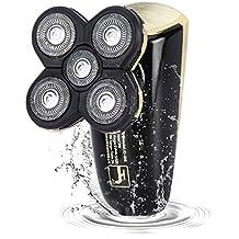 [Patrocinado] Maquinilla de afeitar eléctrica rotativa para hombre, sin cable, seca y húmeda, recargable, USB, para barba y bálvido, con 5 cabezales flotantes lavables, 2 en 1, Beautlinks
