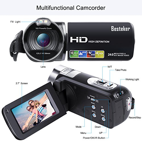 Camera Camcorder, Besteker 1080P Recorder 24M 16X HD Digital Zoom Video Camcorder 2.7 Inch LCD and 270 Degree Rotation Screen (Black)