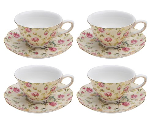 Gracie China Rose Chintz Porcelain 7-Ounce Tea Cup and Saucer Set of 4, Cream Cottage Rose