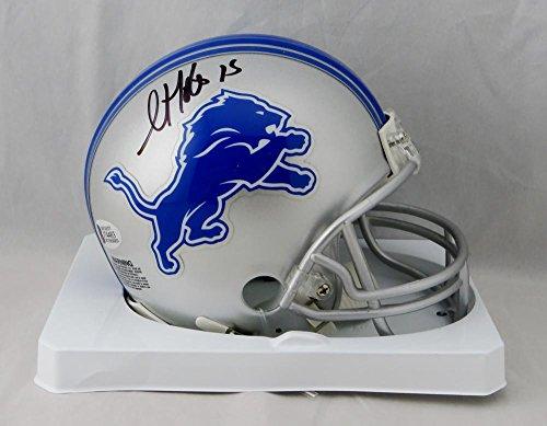 Golden Tate Autographed Detroit Lions Mini Helmet - Beckett W Auth Black