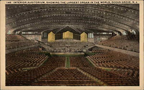 Interior Auditorium, Showing the Largest Organ in the World Ocean Grove, New Jersey Original Vintage Postcard (Best Auditoriums In The World)