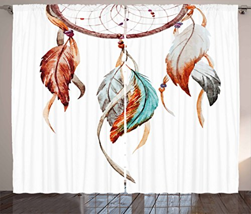 Ambesonne Feather Curtains, Watercolor Dream Catcher Inspirations Traditional, Living Room Bedroom Window Drapes 2 Panel Set, 108