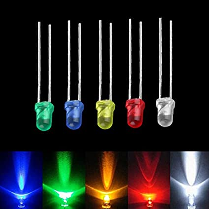 3mm 100pcs  White Green Red Blue Yellow LED Light Bulb Emitting Diode Lamps