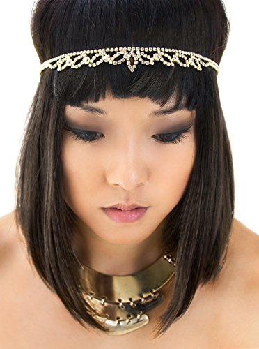 AMY O Gold Grecian Godess Crystal Headband, Egyptian, Cleopatra Headpiece -