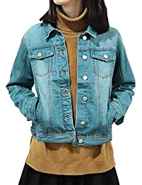 Slim Women Blue Washed Pocket Button Boyfriend Denim Jacket Coat Jean Jackets