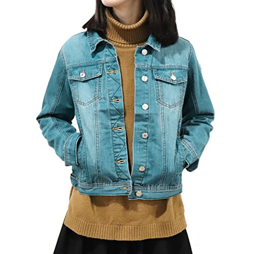 SHAREWIN Slim Women Blue Washed Pocket Button Boyfriend Denim Jacket Coat Jean Jackets, Small by SHAREWIN