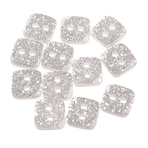Polyester Button - Square - 2Hole - Silver Glitter - 20 Line ()