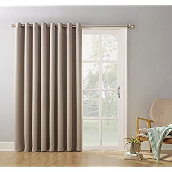 "Sun Zero Easton Blackout Patio Door Curtain Panel, 100"" x 84"", Stone"
