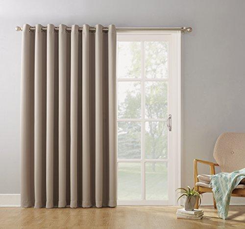 sun zero easton blackout patio door curtain panel 100 x 84 stone taxfree 773822174036 ebay. Black Bedroom Furniture Sets. Home Design Ideas