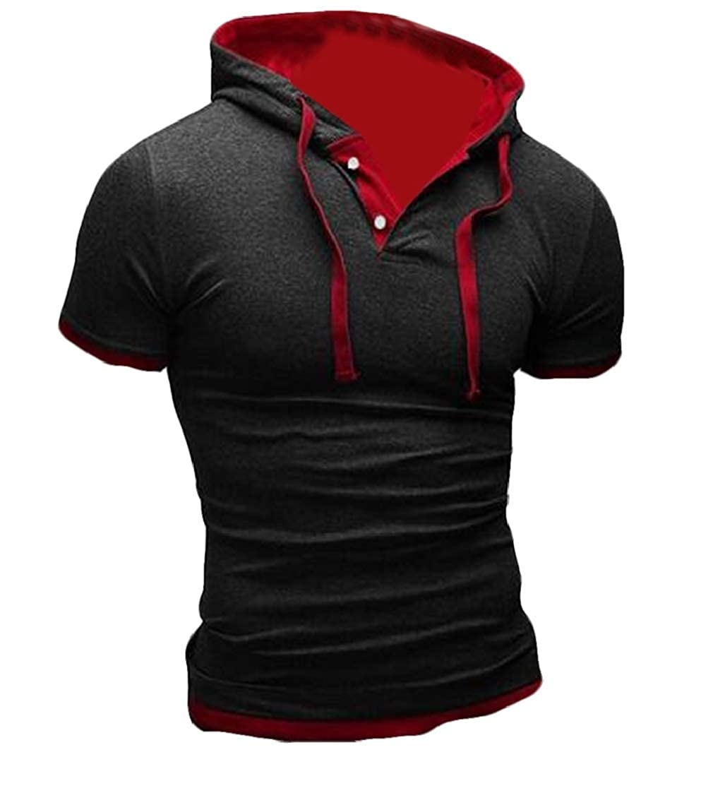 Nanquan Men Short Sleeve Casual Contrast Sport Hooded Big and Tall T Shirts Tee