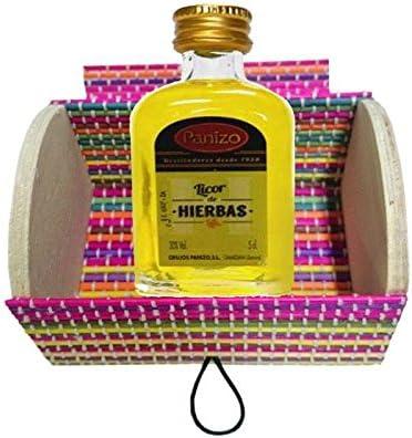 Baúl de madera multicolor con miniatura licor de hierbas de Panizo (Pack 24 ud)