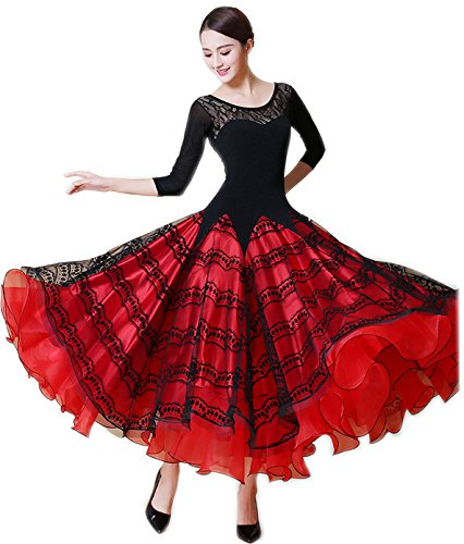 安い割引 garuda 社交ダンス B075CKMV25 ドレスダンス衣装 社交ダンス 豪華モダン競技ワンピース レッド 2色 パーティーロングワンピース B075CKMV25 サイズS|レッド レッド サイズS, 輸入王:eee2f945 --- a0267596.xsph.ru