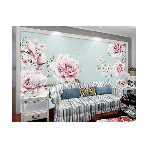 LIWALLPAPER-Carta-Da-Parati-3D-Fotomurali-Acquerello-Inglese-Fiore-Vintage-Camera-da-Letto-Decorazione-da-Muro-XXL-Poster-Design-Carta-per-pareti-200cmx140cm