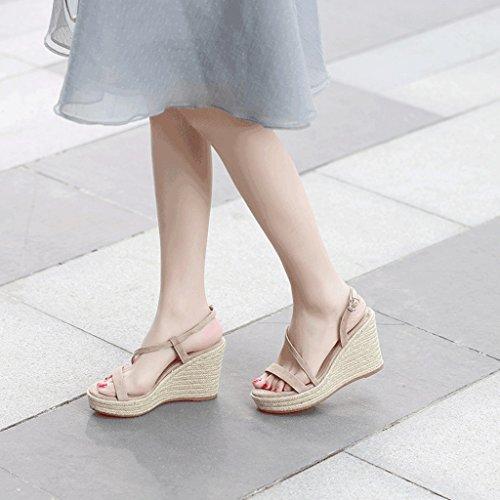 SANDALES Mode Sexy Summer Slope Élégant Open-Toe Plate-Forme Talons Banquet Chaussures (Couleur : Abricot, Taille : 36) Abricot
