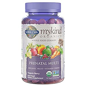 Garden of Life – mykind Organics Prenatal Gummy Vitamins – Berry – Organic, Non-GMO, Complete Vegan Multi – Methyl B12, D3 & Folate – Gluten Free – 120 Real Fruit Chew Gummies *Packaging May Vary*