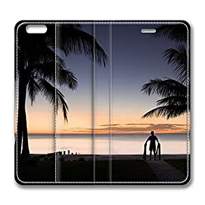 iPhone 6 Plus Case, Fashion Customized Protective PU Leather Flip Case Cover Tropical Beach Silhouette for New Apple iPhone 6(5.5 inch) Plus