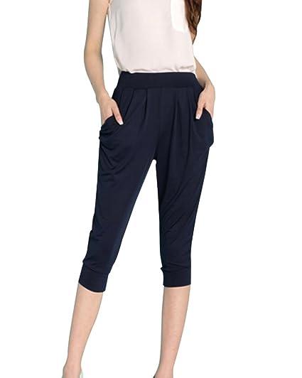 Couleur Casual Pantalons Unie Slim Femme Qitun Taille Été Grande 4AL5Rj3