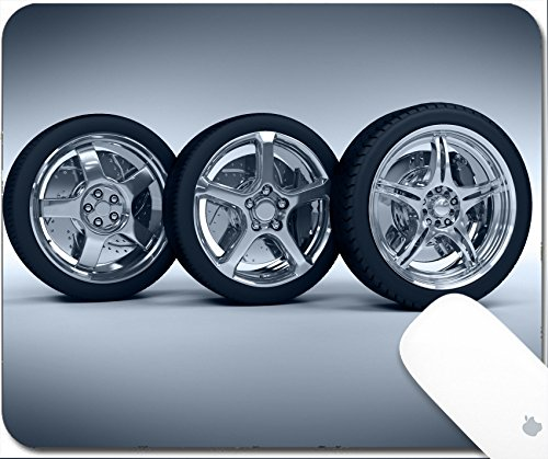 Luxlady Gaming Mousepad Car wheels with steel rims over the blue background 9.25in X 7.25in IMAGE: 4544222 (Rim Disc Specific)