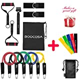 #7: Resistance Bands - 17 pcs With Door Anchor, Ankle Straps, Handles ,Starter Guide And Carrying Bag For Chest Shoulders Back Leg Abs Biceps Triceps Workout By BOOCOSA (Heavyweight) (Heavyweight)