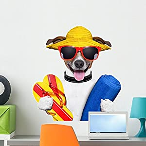 Wallmonkeys Summer Beach Dog Wall Decal Peel and Stick Graphic (24 in H x 24 in W) WM127594