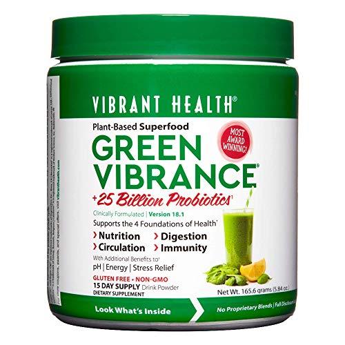 Vibrant Health, Green Vibrance, Plant-Based Superfood Powder, 25 Billion Probiotics Per Scoop, Vegetarian and Gluten Free, 15 Servings