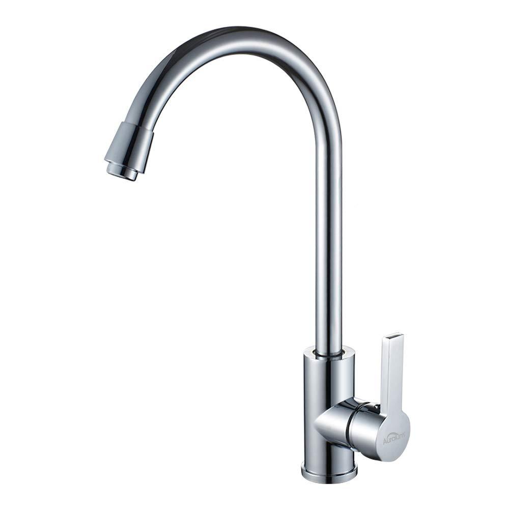 Auralum 360° drehbar Küche Wasserhahn Einhandmischer Spültischarmatur Chrom inkl. 2x Flexible Schläuche