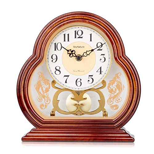 SkyNature Swinging Table Clocks, Vintage Grandmother Desk Clock in Imitation Wood Style, Silent Non-Ticking Battery Operated Hanging Clock for Home, Bedroom, Office, Den Decor - 10 Inch Brown