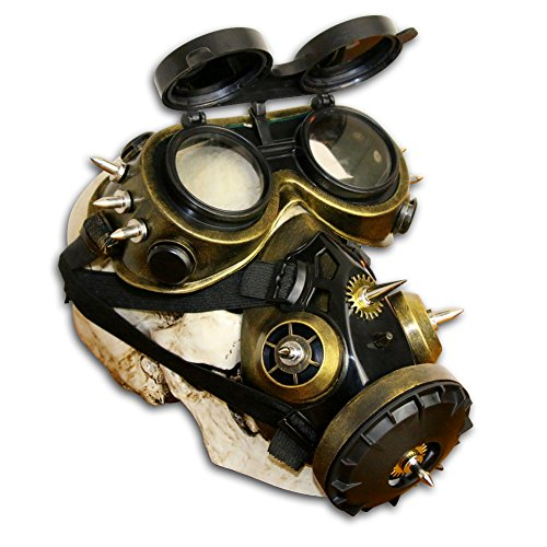Steampunk Gas Goggles Skeleton Warrior Death Mask Masquerade Christmas Cosplay Props (Gold II) -