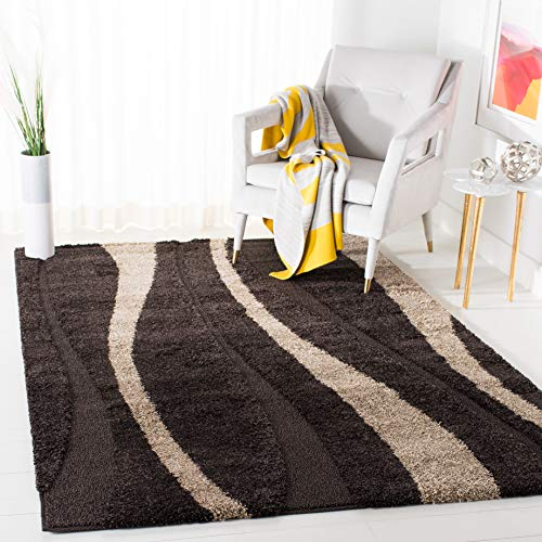 Safavieh Willow Shag Collection SG451-2813 Dark Brown and Beige Area Rug (8' x 10') (Willow Collection)