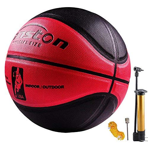 Senston 29.5'' Basketball Outdoor Indoor Leather Basketballs Game Ball Official Size 7?Street Basketball 5001 with Pump Needle Net