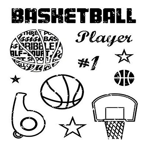 KAREN FOSTER Design Scrapbooking Clear Stamps, Basketball, 12 x 12