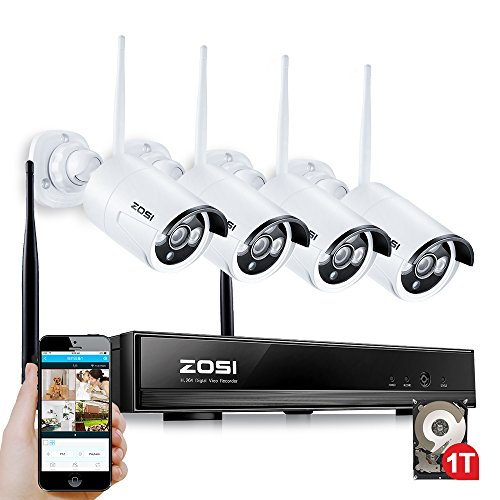 ZOSI 4PCS Megapixel 720P Wireless Outdoor IP Camera System 100ft (30m) Night vision with 4 Channel Security HD Network IP NVR Wifi Kit Support Smartphone Remote view with 1TB Hard Drive