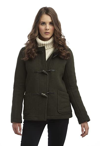 Womens Short Duffle Coat -- Olive: Amazon.co.uk: Clothing