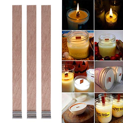 Home Decoration Craft,Candle Wood Wick with Sustainer Tab Candle Making Supply 10Pcs by Tebatu (Image #2)