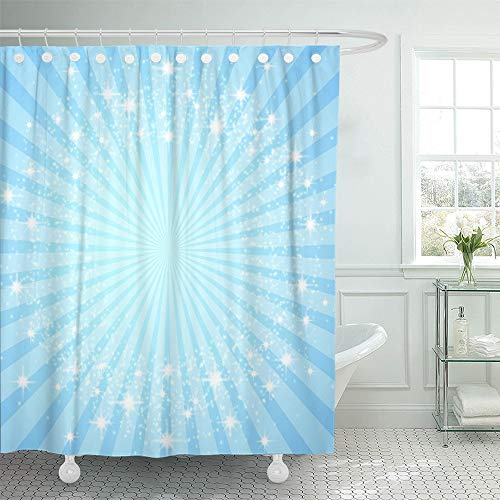 Emvency Shower Curtain Waterproof Adjustable Polyester Fabric Starburst Colorful Blue Burst Sweet Baby Princess Gradient Summer Light Glow 72 x 72 Inches Set with Hooks for Bathroom (Ring Adjustable Starburst)