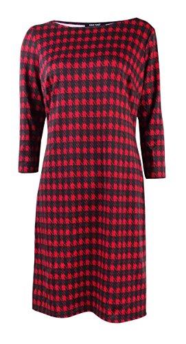 Nine West Womens Houndstooth Printed Ponte T-Shirt Dress