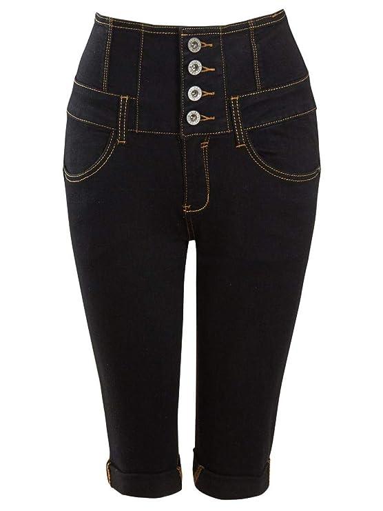 SS7 Womens High Waist Denim Capri Shorts