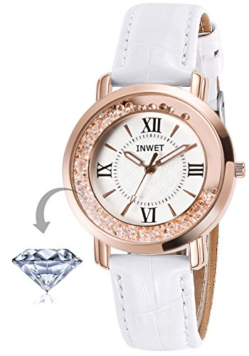 INWET Crystal Wristwatch for Women and Girls,Rose Gold Case, White Leather Strap by INWET